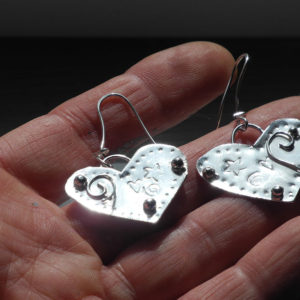 Large Silver Heart Earrings