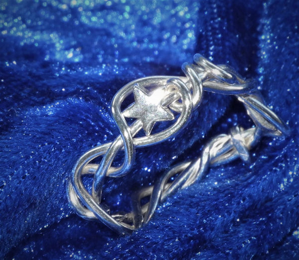 Twisty Silver Ring with Little Star